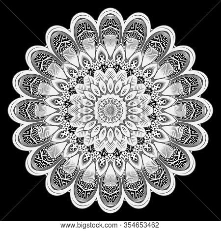 Vintage Floral Round Mandala Pattern. Greek Ornamental Background. Line Art Tracery Black And White