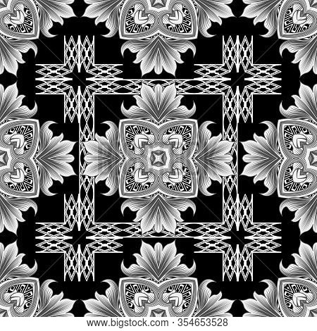 Vintage Floral Vector Seamless Pattern. Greek Ornamental Background. Line Art Tracery Black And Whit