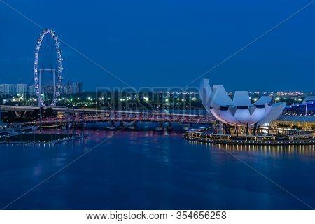 Singapore, Singapore - FEBRUARY 15, 2020: View at Singapore City Skyline at night