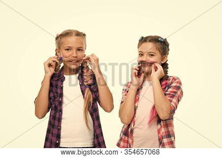 Whose Mustache Better. Little Girls Wear Plaited Hairstyles. Happy Girls Have Hair Fun. Cute Girls S