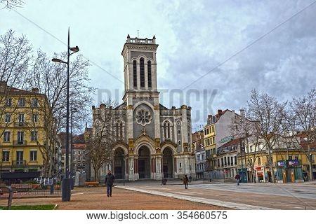 Saint-etienne, France - January 27th 2020 : Cathedral Saint-charles-borromée Of Saint-etienne. This