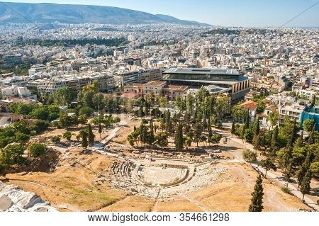 View From The Acropolis To The Theater Of Dionysus And  Residential Areas Of City. Athens Cityscape,
