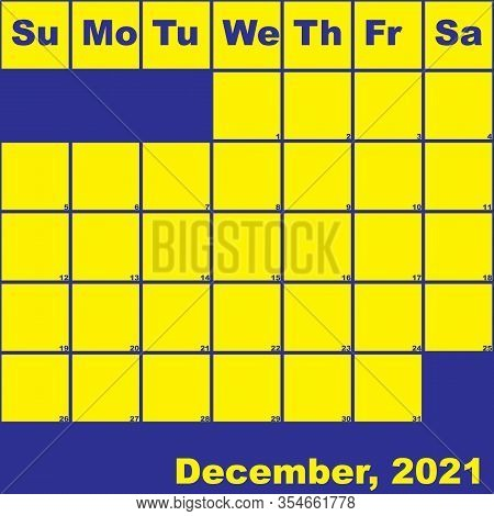 2021 December Yellow On Blue Planner Calendar With Huge Space For Notes