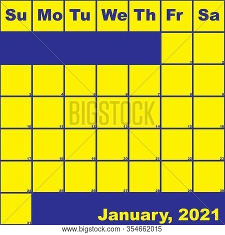 2021 January Yellow On Blue Planner Calendar With Huge Space For Notes