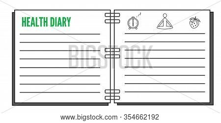 Healthy Diary Plain Design Open Notebook With Titile And Lines