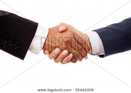 Multiracial handshake between african and a caucasian business man, isolated on white