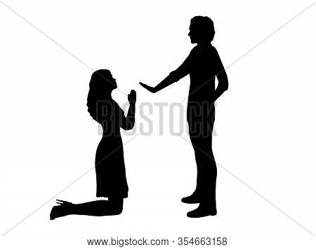 Silhouettes Of Woman Beg On Her Knees In Front Of Man. Illustration Graphics Icon