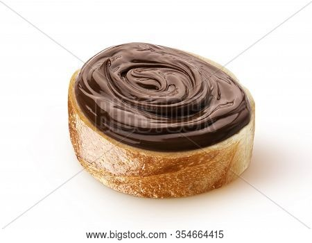 Slice Of Bread With Chocolate Cream With Hazelnut
