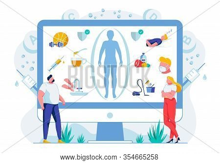 Healthy Lifestyle Habits Flat Vector Illustration. Online Wellness Course. People Studying Balanced