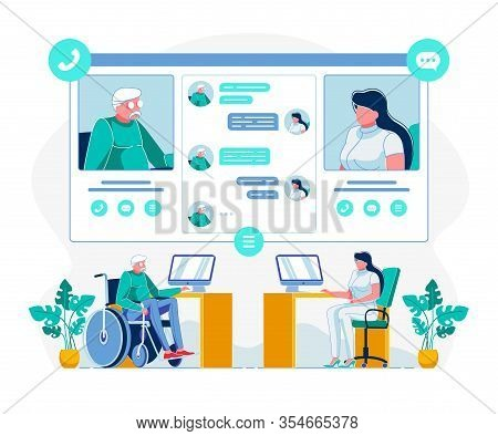 Telemedicine For Disabled Individuals Illustration. Doctor Consulting Handicapped Person Online Cart