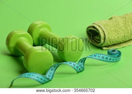 Sports Regime Symbols. Tape Measure In Cyan Color Near Barbells
