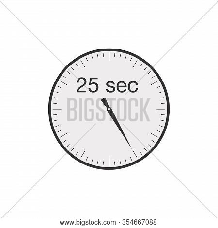 Simple 25 Seconds Or 25 Minutes Timer. Stock Vector Illustration Isolated On White Background.