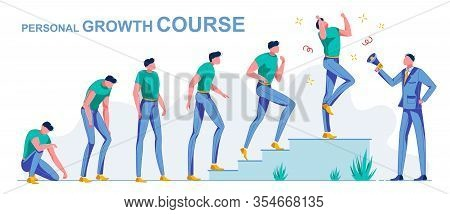 Personal Course Growth, From Loser To Successful. Course Teacher Help Man To Rise From His Knees To