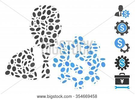 Dotted Mosaic Based On Banker Options. Mosaic Vector Banker Options Is Formed With Random Oval Dots.