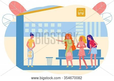Bullying Lonely Girl At School Bus Stop, Cartoon. Well-dressed Teenage Girls Laugh At Student From T