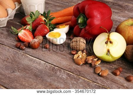 Allergy Food Concept. Allergy Food As Almonds, Milk, Cheese, Strawberry, Bread, Seeds, Eggs, Peanuts