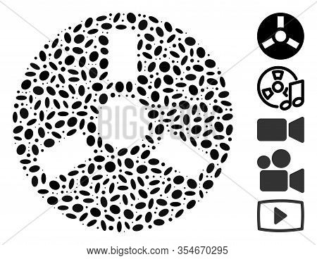 Dot Mosaic Based On Bobbin. Mosaic Vector Bobbin Is Designed With Scattered Oval Items. Bonus Icons