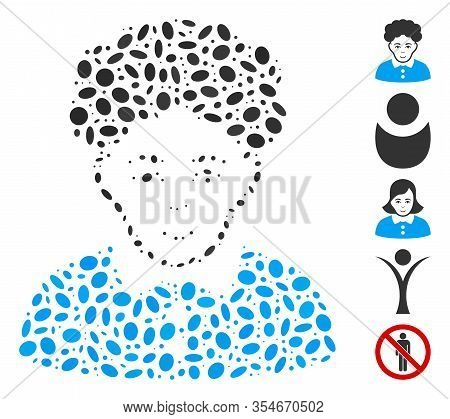 Dot Mosaic Based On Brunette Woman. Mosaic Vector Brunette Woman Is Composed With Scattered Elliptic