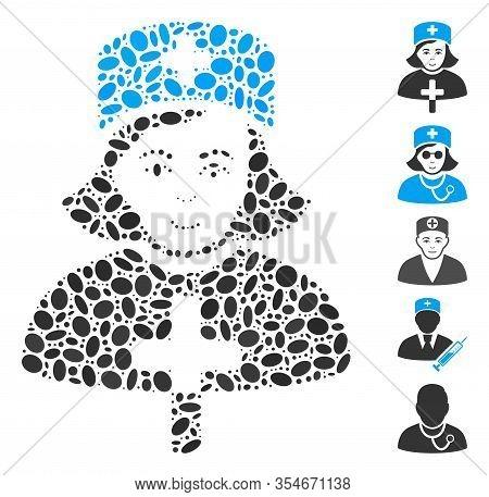 Dot Mosaic Based On Catholic Lady Doctor. Mosaic Vector Catholic Lady Doctor Is Created With Random