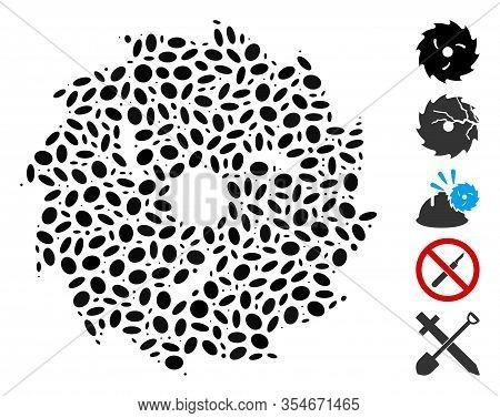 Dot Mosaic Based On Circular Wood Blade. Mosaic Vector Circular Wood Blade Is Composed With Randomiz