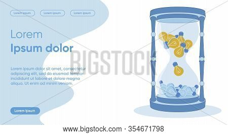 Time Passing Flat Landing Page Vector Template. Innovation Development, Idea Irrelevance, Time Trans