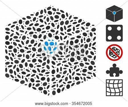 Dotted Mosaic Based On Cube Vertex. Mosaic Vector Cube Vertex Is Composed With Scattered Elliptic Sp