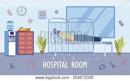 Hospital Room Or Ward Interior, Furnishing And Equipment With Man Cartoon Character In Clinic Bed. H