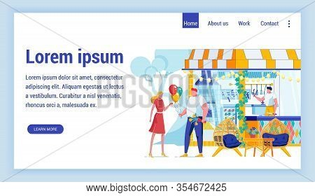 Date In Park Flat Vector Landing Page Template. Man Greeting Woman With Flower Bouquet. Outdoor Eate