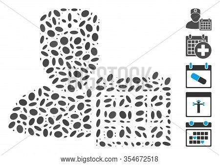 Dotted Mosaic Based On Doctor Schedule Calendar. Mosaic Vector Doctor Schedule Calendar Is Formed Wi