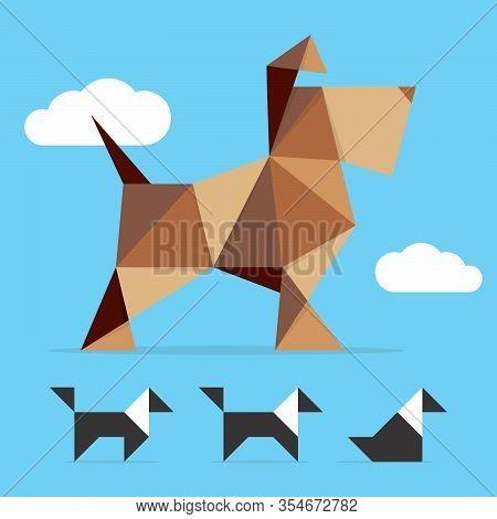 Beautiful Dog (schnauzer) Vector Illustration. Pet Shop Symbol Logo. Animal Icon Polygonal Illustrat