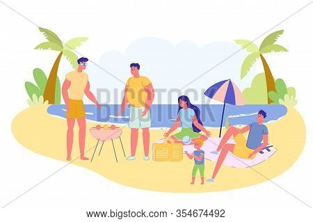Company Relatives Resting At Resort, Vector Banner. Two Men Stand By Barbecue And Cook Meat. Rest Fa