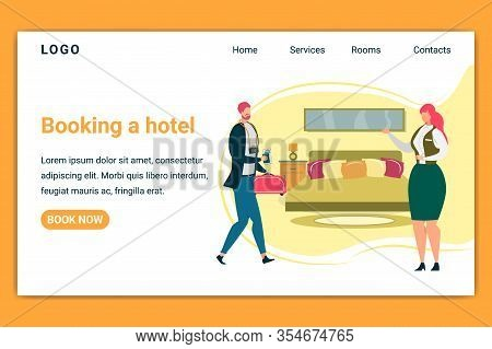 Booking A Hotel Horizontal Banner. Businessman Holding Bag And Passport Enter Room With Motel Staff