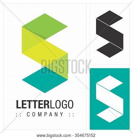 Letter S (typography) Vector Symbol Company Logo (logotype). 3d Geometric Paper Fold (origami) Layer