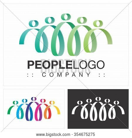 People (family, Friends, Team, Group) Vector Symbol Company (association) Logo (logotype). Spiral, H