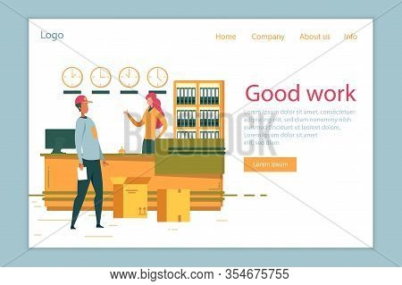 Delivery Shipping Company Successful Good Work And Development. Office Worker And Courier Character