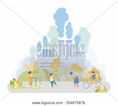 Near Playground Factory Emitting Waste Into Air. Children Have Fun On Special Playground In Park. Pa