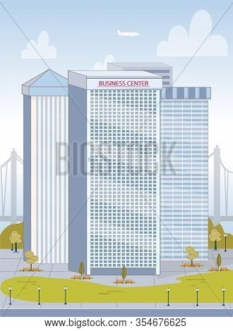 Modern Business Center Exterior Over Cityscape. High Big City Buildings With Office Place For Compan
