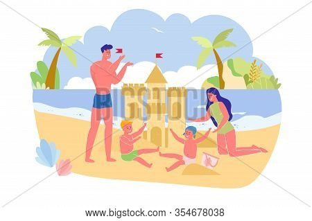 Family Is Building Sand Castle On Ocean, Cartoon. Children Sitting In Sand And Laughing, Mom On Knee