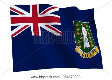 British Virgin Islands Flag, 3d Render. British Virgin Islands Flag Waving In The Wind, Isolated On