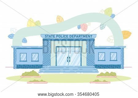 Brick State Police Department Building Exterior Of Facade With Stairs. Lawn, Plant And Shrub On Secu