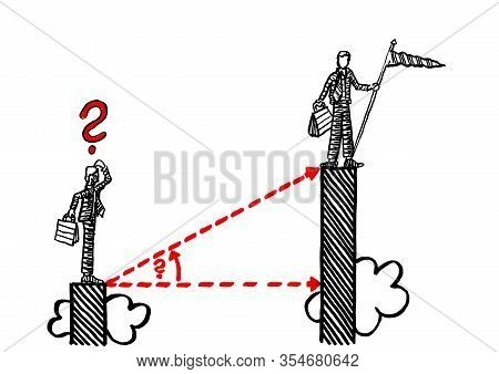 Freehand Pen Drawing Of Business Manager Atop Chart Bar Thinking Of How To Overcome The Edge Separat