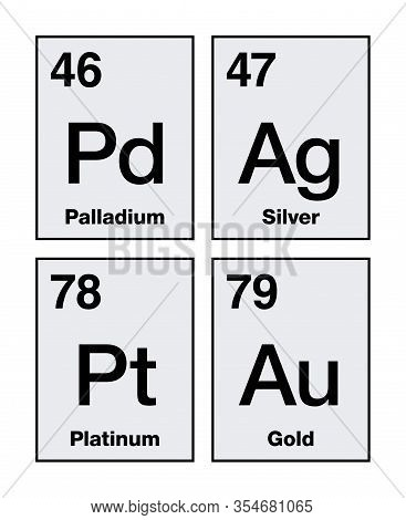 Gold, Silver, Platinum And Palladium On Periodic Table. Precious Metals, Chemical Elements With A Hi