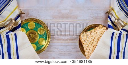 Matzo For Passover On Seder Passover Bread Tray On Table