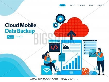 Landing Page Template Of Backup Mobile Work Data And Personal Documents To Cloud Computing. Mobile O