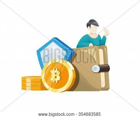 Vector Illustration Bitcoin Wallet Concept. Man Investing A Bitcoin In His Wallet, Digital Crypto Cu