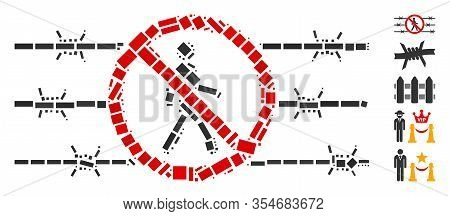 Dotted Mosaic Based On No Trespassing Fence. Mosaic Vector No Trespassing Fence Is Composed With Sca