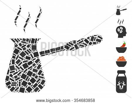 Dot Mosaic Based On Turkish Coffee. Mosaic Vector Turkish Coffee Is Created With Randomized Rectangu