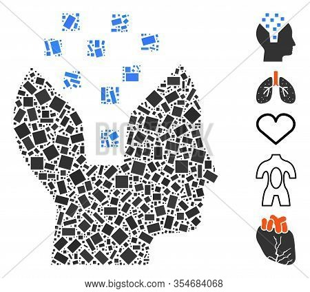 Dotted Mosaic Based On Human Memory. Mosaic Vector Human Memory Is Composed With Random Rectangle Sp