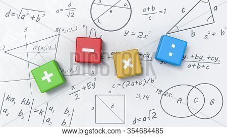 Colorful Cubes With Math Operators On Whiteboard With Formulas, Graphs And Symbols Illustration
