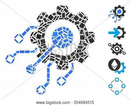 Dot Mosaic Based On Digital Integration Gear. Mosaic Vector Digital Integration Gear Is Created With